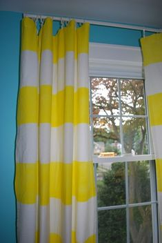diy striped curtains nosew