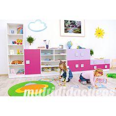 Ejemplo de habitación infantil en rosa para niñas #mobiliario #infantil #escuela http://www.educamueble.com