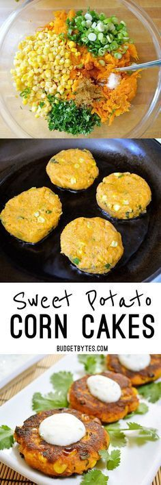 Sweet Potato Corn Cakes with Garlic Dipping Sauce Cumin, cilantro, and cayenne pepper add big flavor to these savory Sweet Potato Corn Cakes. Dip them in the creamy garlic sauce for even more zing! Veggie Dishes, Vegetable Recipes, Side Dishes, Vegetarian Recipes, Healthy Recipes, Delicious Recipes, Veggie Food, Healthy Sweets, Healthy Snacks