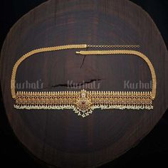 Designer Antique kamarbandh studded with synthetic ruby and green stones & hanging pearl drops Gold Temple Jewellery, Royal Jewelry, Gold Jewellery Design, Antique Jewellery, Gold Jewelry, Diamond Jewellery, Jewelery, Kerala Jewellery, Pakistani Jewelry