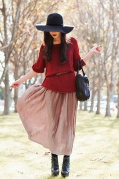 Burgundy/pink + sweater + maxi + hat black handbag boots spring Fashion women outfit clothing apparel style