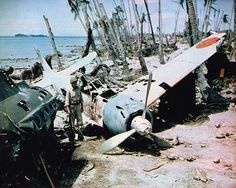 Mitsubishi A6M3 Zero wreck at Munda, Solomon Islands, 1943