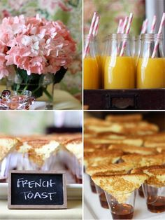 perfect little brunch foods.  what a cute way to serve french toast at a  brunch
