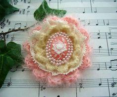 Victorian Pink Rose Cameo Brooch Pin Hand by CraftsbySigita