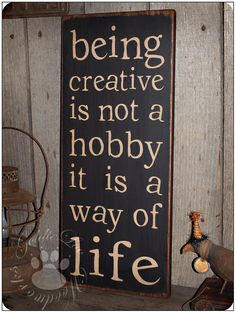 Being Creative Primitve Folk Art Word Art by GoldieLooWoodworks, $18.00