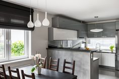 Interior design ideas of gray kitchen - shades and combinations Kitchen Shades, Kitchen Blinds, Grey Kitchen Interior, Kitchen Decor, Kitchen Ideas, Very Small Kitchen Design, Kitchen Colour Schemes, Küchen Design, Design Ideas