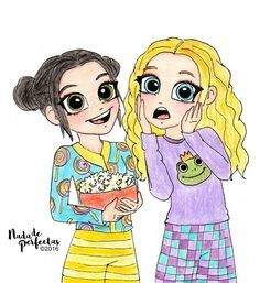 Leena and Terra have a Pijama Party with friends, and horror movies! Leena y Terra tienen una divertida Pijamada con sus mejores amigas, y películas. Tumblr Drawings, Bff Drawings, Disney Drawings, Cartoon Drawings, Bff Pics, Bff Pictures, Kawaii Girl Drawings, Cute Girl Drawing, Arte Monster High