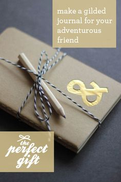 Gilded Moleskin Journal - cut out shape, glue on foil, cover inside cover with pretty paper!