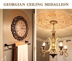 Stencil ceiling medallion by Ask Anna blog. Love! http://blog.cuttingedgestencils.com/unique-ceiling-medallion-stencil-ideas.html #stencils #CuttingEdgeStencils #DIY