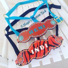Magic's custom tack turquoise and tiger print custom bronc halters