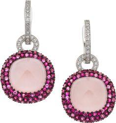 {Daily Jewel} Diamond, Pink Sapphire, Rose Quartz, and White Gold Earrings via @hautetramp