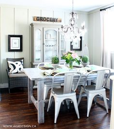 Cottage Farmhouse Dining Room. I love the mix of traditional, industrial, and farmhouse styles.