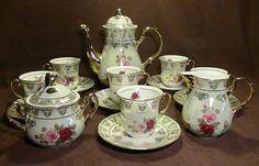 THUN KARLOVARSKY, Gorgeous Rose Design Fine Porcelain China Tea Set - New 17Pcs