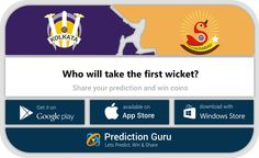 Who will take the first wicket?  Predict at http://pgur.in/uqwa6x  #KKRvSRH #ipl2016 #cricket