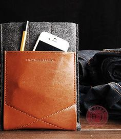 iPad Mini Sleeve Case Cover - Dark Gray Wool Felt Brown Leather. $40.00, via Etsy.