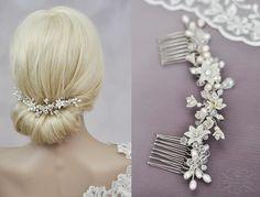 Braut Haarschmuck Kamm & Perlen Hochzeit Haarkamm  von Princess Mimi  auf DaWanda.com