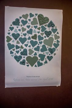 Similar idea to the wooden hearts, but this is on a piece of paper where you get your guests to write their name  inside one of the hearts.