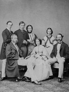 "1862 engagement of Edward VII ""Bertie"" (Albert Edward) (1841-1910) Prince of Wales, UK. Back row, left: Prince Frederik of Denmark, Albert Edward Prince of Wales, Princess Alexandra of Denmark, Princess Dagmar of Denmark. Front row, left: Prince Philippe of Belguim, Queen Louise of Denmark, King Christian IX of Denmark"