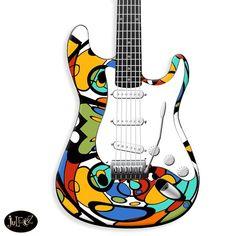 Fender Style Custom Painted Strat Painted Electric Guitar by Juleez
