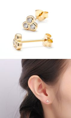 ABOUT US  CMY - Carry My Young is a new collection we are introducing in 2015. The name is a reminder of a young soul, cherishing sweet and beautiful things in life. Its a sweet collection expresses lots of LOVE......    DESCRIPTION - Diamond clover stud earring in sterling silver or plated in 18K yellow gold.    MEASUREMENT - 5mm(one size only)    PACKAGING - These earrings will arrive in an eco-friendly jewelry paper box, making it a nice gift to give a friend or keep for yourself.   MORE…