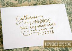 Wedding Calligraphy Envelope Addressing - Gold Modern Calligraphy - Wedding…                                                                                                                                                                                 More