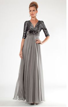 Teri Jon evening gown for the mother of the bride #terijon #mob Style #7231 Silver