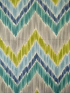 """Tribal Find Aquamarine Ikat Flame Stitch fabric. 100% cotton fabric. Multi purpose for drapery, light use upholstery or top of the bed. Made in U.S.A. 13.5"""" up the roll repeat. 54"""" wide. Breamore Textiles."""