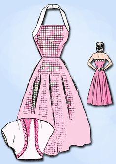 1950s Vintage Mail Order Sewing Pattern 8713 Misses Halter Sun Dress Size 12 30B