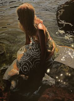 """Resolute, study 30"""" X 40"""" oil on canvas Available for info ... http://www.mheine.com/resolute-study.html  The story point ...  Sirens series ...  Sunrise in Turtle Bay. Once again Aerica holds vigil in the shallows. As the bite of the frigid water grows, her hope for this day fades ... but not her will."""