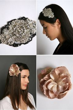 all you need are some architectural pieces + elastic headband + clip +  glue + =cute hair pieces