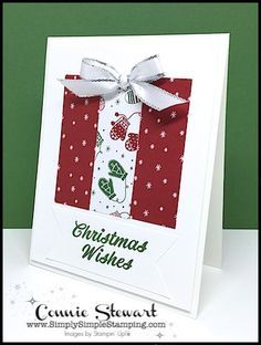 I love quick and simple Christmas cards and today's MAKE IT MONDAY is just that – quick and simple. You can make 16 cards from just 1 sheet of 12 x 12 Designer Series Paper. The extra layer of Whisper White gives this card that extra special touch too Simple Christmas Cards, Christmas Card Crafts, Homemade Christmas Cards, Christmas Wishes, Homemade Cards, Holiday Cards, Christmas Vacation, Christmas Tree, Christmas Abbott