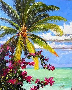 Pink Splash by Peter Vey. This Key West palette knife artist's work exudes lush floral details, formal architectural patterns, and intricate almost abstract flowery geometric forms. Landscape Art, Landscape Paintings, Hawaii Painting, Palm Tree Art, Hawaiian Art, Caribbean Art, Seascape Paintings, Tropical Paintings, Guache