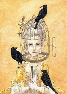 bird cage lady with crows small art piece and artist trading card