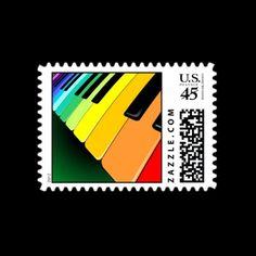 Keyboard Music Party Colors Stamp © Bluedarkat - on Zazzle!