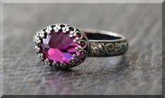 Ruby Ring July Birthstone Ring Crown Bezel Ring by thewrappedpixie