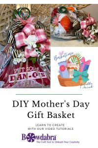 Mother's Day gift basket Mothers Day Baskets, Great Mothers Day Gifts, Mothers Day Crafts, Diy Mother's Day Gift Basket, Making A Gift Basket, Bow Making Tutorials, Video Tutorials, Diy Mother's Day Crafts, Bath Bombs Scents