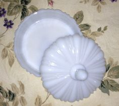 Anchor Hocking Milk Glass OLD CAFE Candy Dish by YouandVintage, $35.00