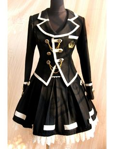 School uniform style black lolita jacket and skirt set, front chest is decorated by bold bronze color buttons and golden line. The lolita clothes is tailored by wool with lace. Kawaii Fashion, Lolita Fashion, Cute Fashion, Look Fashion, Fashion Outfits, Fashion Design, Fashion Clothes, Harajuku Fashion, Gothic Fashion