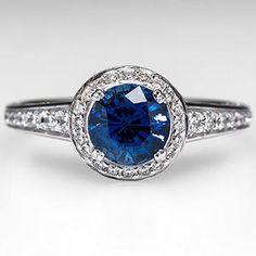 Ritani Blue Sapphire & Diamond Halo Engagement Ring Solid 18K White Gold - EraGem