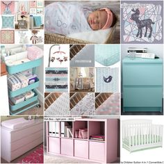 Natalie's Nursery inspiration... Change pink shelf to white shelf but still with pink bins... <3 Tribal, woodland, lolli living, pink and turquoise, ikea, arrows, girl nursery.