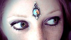 Seraphine Bindi, mermaid, iridescent purple, silver, gypsy, fantasy, magic, wicca, tribal fusion, pagan, belly dance costume, larp, fairy on Etsy, $17.50
