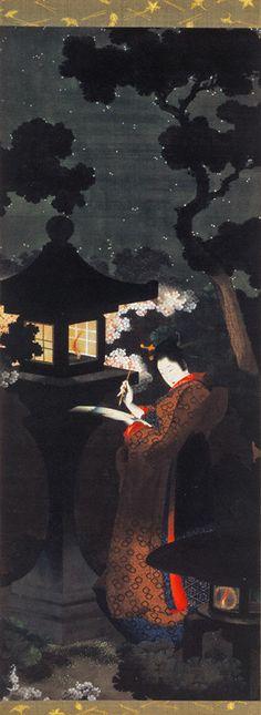 葛飾応為「夜桜美人図」