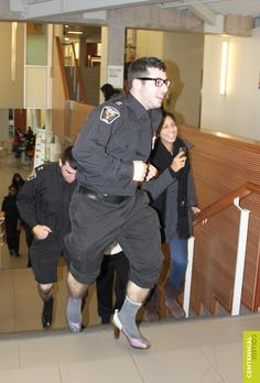 """Centennial's White Ribbon Campaign 2012 to end men's violence against women concluded on a high note on Wednesday, December 5 with a challenge to the men of Progress Campus to """"Walk A Mile In Her Shoes."""""""