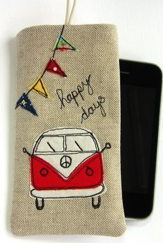 Phone Sleeve Smartphone Case Red VW Camper and Bunting Free Motion Embroidery, Embroidery Applique, Machine Embroidery, Sewing Crafts, Sewing Projects, Vw Camper, Vw Bus, Volkswagen, Sewing Appliques