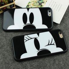 Caja del espejo para apple iphone 7 6 6 s 6 más 6 s plus 7 Plus 5 5S SÍ Capa Novia de Mickey Minnie Mouse de Silicona Cubierta Del Teléfono de Shell