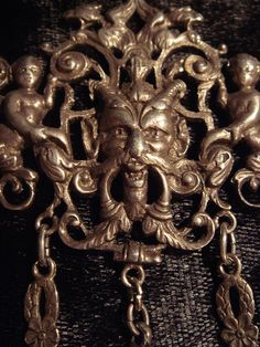 Rare GOTHIC OCCULT DIABOLICAL Antique European 800 Silver Coppini Necklace, Devils, Harpies, Cherubs, Ball and Claw