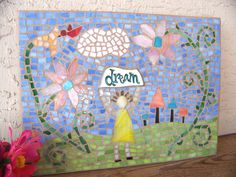 Girl's Room Decor Stained Glass Mosaic Art by bluewaveglass