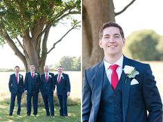 Chic Relaxed Country Rustic Wedding Blue Suit Groom Red Tie Http Www