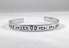 soon to be mom pregnant baby shower bracelet ETA by AtEaseDesigns2, $22.00 Gifts For Expecting Parents, Pregnant Baby, Metal Stamping, Cuff Bracelets, Pregnancy, Wedding Rings, Baby Shower, Engagement Rings, Mom