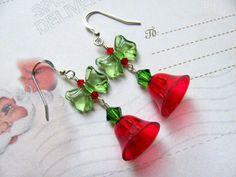 Red Christmas Bell Earrings - Holiday Earrings Vintage Plastic Bells Swarovski